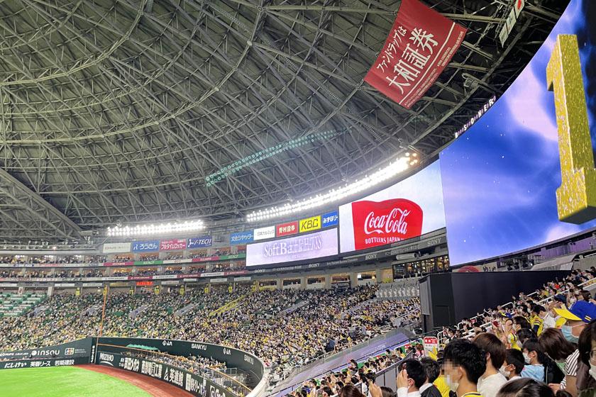 福岡ソフトバンクホークスの本拠地、福岡PayPayドームです。外野席からの眺めで、右側に大きな映像設備ホークスビジョンがあります。