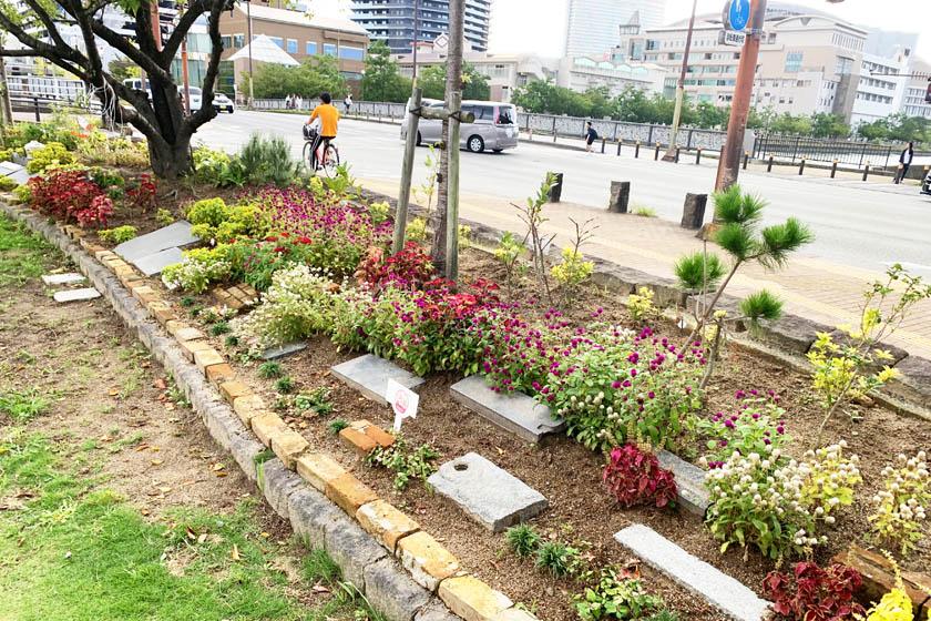 ホークスとうじん通りガーデンの外観です。赤や白の花、木々が植えられています。