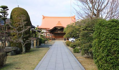 唐人町にある成道寺の外観です。山門から真っすぐのびた道の先に橙色の屋根をした本殿があります。道の両側には緑の木々が植えられています。